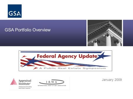 Office of Real Property Asset Management GSA Portfolio Overview January 2009.