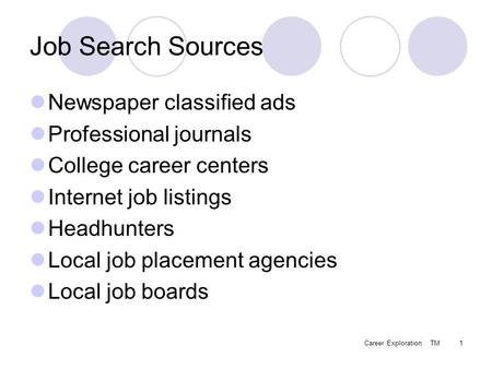 Career Exploration TM1 Job Search Sources Newspaper classified ads Professional journals College career centers Internet job listings Headhunters Local.