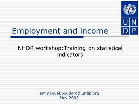 Employment and income NHDR workshop:Training on statistical indicators May 2003.