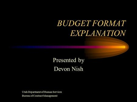 BUDGET FORMAT EXPLANATION Presented by Devon Nish Utah Department of Human Services Bureau of Contract Management.
