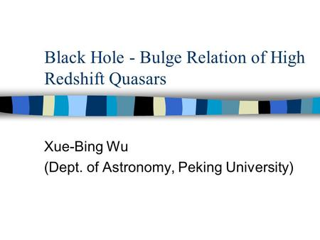 Black Hole - Bulge Relation of High Redshift Quasars Xue-Bing Wu (Dept. of Astronomy, Peking University)