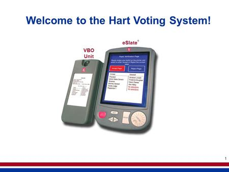 1 Welcome to the Hart Voting System! VBO Unit eSlate ®
