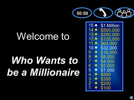 15 14 13 12 11 10 9 8 7 6 5 4 3 2 1 $1 Million $500,000 $250,000 $125,000 $64,000 $32,000 $16,000 $8,000 $4,000 $2,000 $1,000 $500 $300 $200 $100 Welcome.