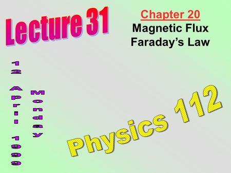 Chapter 20 Magnetic Flux Faraday's Law. We saw in Chapter 19 that moving charges (currents) create magnetic fields. Nature often reveals a great deal.