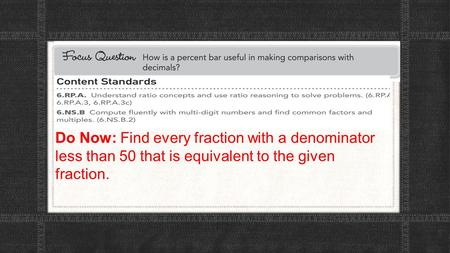 Do Now: Find every fraction with a denominator less than 50 that is equivalent to the given fraction.