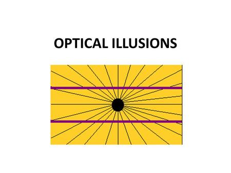 OPTICAL ILLUSIONS. Optical Illusions An optical illusion (also called a visual illusion) is any image perceived by your eyesight to be visually deceptive.