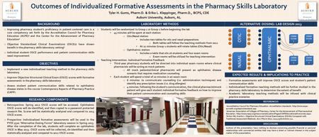 Outcomes of Individualized Formative Assessments in the Pharmacy Skills Laboratory Tyler H. Gums, Pharm.D. & Erika L. Kleppinger, Pharm.D., BCPS, CDE Auburn.