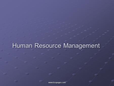 Www.bzupages.com Human Resource Management. www.bzupages.com Presented To: Sir Ahmad Tisman Pasha.