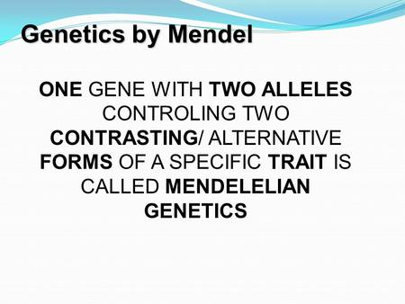 Genetics by Mendel 1 ONE GENE WITH TWO ALLELES CONTROLING TWO CONTRASTING/ ALTERNATIVE FORMS OF A SPECIFIC TRAIT IS CALLED MENDELELIAN GENETICS.