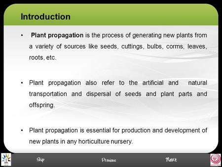 Introduction Plant propagation is the process of generating new plants from a variety of sources like seeds, cuttings, bulbs, corms, leaves, roots, etc.