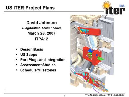 ITPA12 Diagnostics - PPPL - 3/26-30/07 1 US ITER Project Plans David Johnson Diagnostics Team Leader March 26, 2007 ITPA12 Design Basis US Scope Port Plugs.