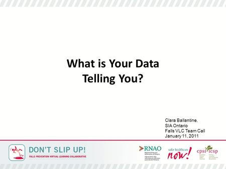 What is Your Data Telling You? Clara Ballantine, SIA Ontario Falls VLC Team Call January 11, 2011.