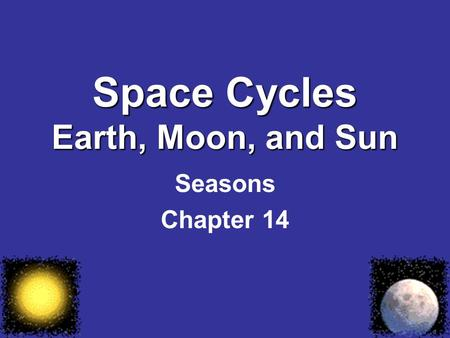 Space Cycles Earth, Moon, and Sun Seasons Chapter 14.