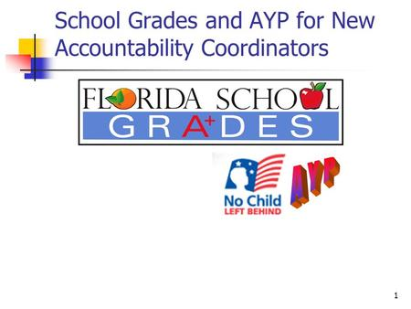 1 School Grades and AYP for New Accountability Coordinators.
