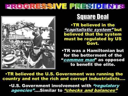 "Square Deal TR believed in the ""capitalistic system"" but believed that the system must be regulated by US Govt. TR was a Hamiltonian but for the betterment."