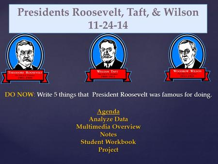 : Write 5 things that President Roosevelt was famous for doing. DO NOW: Write 5 things that President Roosevelt was famous for doing. Agenda Analyze Data.