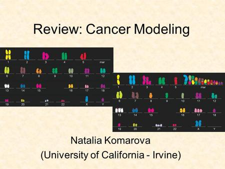 Natalia Komarova (University of California - Irvine) Review: Cancer Modeling.