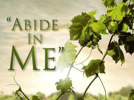 "Abide in Jesus. Two Keys For Understanding John 15:1-11 1.A Keyword: ""Abide"" – ""To accept and act in accordance with"" – For example: We can ""abide by"""