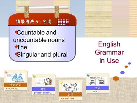 English Grammar in Use  Countable and uncountable nouns  The  Singular and plural 情景语法 5 :名词.