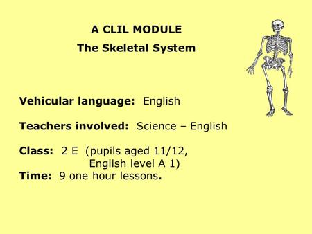 A CLIL MODULE The Skeletal System Vehicular language: English Teachers involved: Science – English Class: 2 E (pupils aged 11/12, English level A 1) Time: