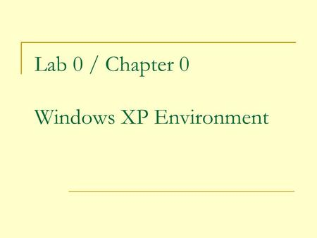 Lab 0 / Chapter 0 Windows XP Environment. 2 User Interfaces: A different perspective.