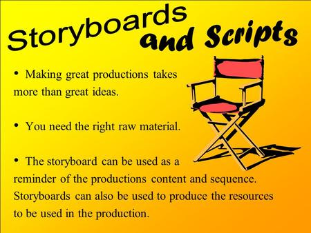 Making great productions takes more than great ideas. You need the right raw material. The storyboard can be used as a reminder of the productions content.