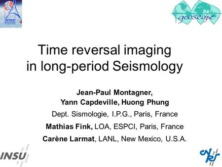 Time reversal imaging in long-period Seismology