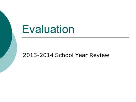 Evaluation 2013-2014 School Year Review. Evaluation Intent  Collaborative process to support professional growth  Conversations and reflection should.
