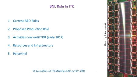 BNL Role In ITK 1.Current R&D Roles 2.Proposed Production Role 3.Activities now until TDR (early 2017) 4.Resources and Infrastructure 5.Personnel 1 D.