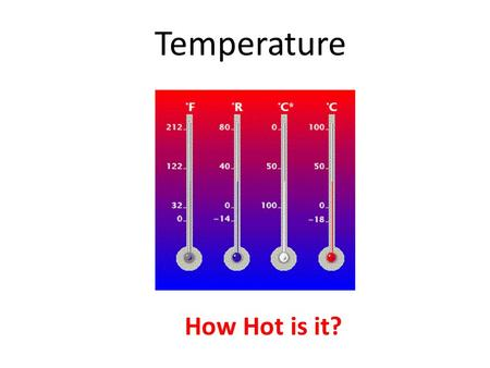 "Temperature How Hot is it?. Temperature Temperature is a measure of the average kinetic energy of a molecule of a substance, or… How ""hot"" it is. On Temperature."
