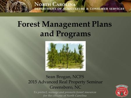 To protect, manage and promote forest resources for the citizens of North Carolina 1 Forest Management Plans and Programs Sean Brogan, NCFS 2015 Advanced.