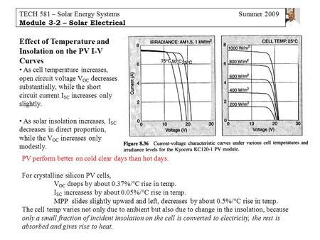 TECH 581 – Solar Energy Systems Summer 2009 Module 3-2 – Solar Electrical Effect of Temperature and Insolation on the PV I-V Curves As cell temperature.
