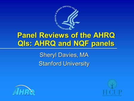 Panel Reviews of the AHRQ QIs: AHRQ and NQF panels Sheryl Davies, MA Stanford University.