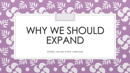 WHY WE SHOULD EXPAND Shellby Jacobs & Brie Larkowski.