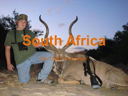 South Africa By: Taylor Chapman. MAP Major Cities: Johannesburg Port Elizabeth Kimberly Upington Cape Town Capital: Pretoria.