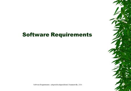 Software Requirements Software Requirements - adopted & adapted from I. Sommerville, 2004.