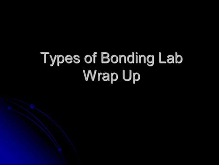 Types of Bonding Lab Wrap Up. What Do The Formulas Mean? Describe what elements make up the compound Describe what elements make up the compound Also.