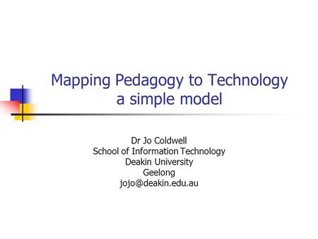 Mapping Pedagogy to Technology a simple model Dr Jo Coldwell School of Information Technology Deakin University Geelong