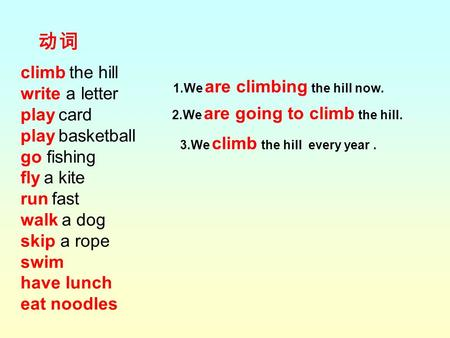 Climb the hill write a letter play card play basketball go fishing fly a kite run fast walk a dog skip a rope swim have lunch eat noodles 动词 1.We are climbing.