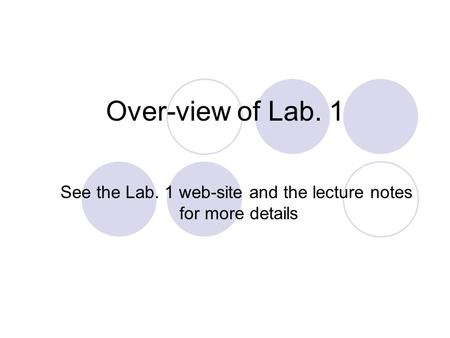 Over-view of Lab. 1 See the Lab. 1 web-site and the lecture notes for more details.