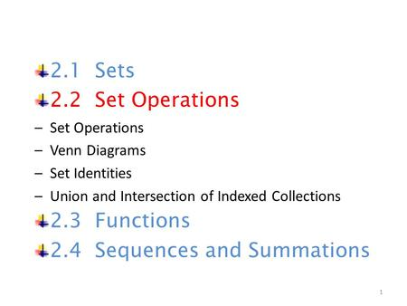 2.1 Sets 2.2 Set Operations –Set Operations –Venn Diagrams –Set Identities –Union and Intersection of Indexed Collections 2.3 Functions 2.4 Sequences and.