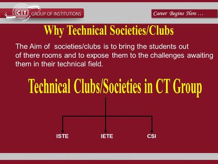 Career Begins Here … ISTEIETECSI The Aim of societies/clubs is to bring the students out of there rooms and to expose them to the challenges awaiting them.
