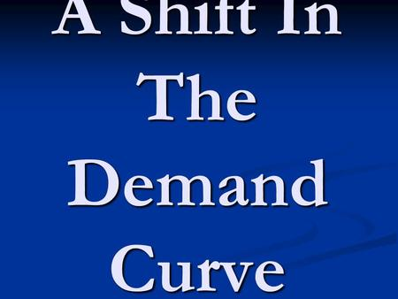 A Shift In The Demand Curve. Focus Activity How do you think you would show (using the Demand Curve) an increase in the Demand for a good? P D Q 0 D2.