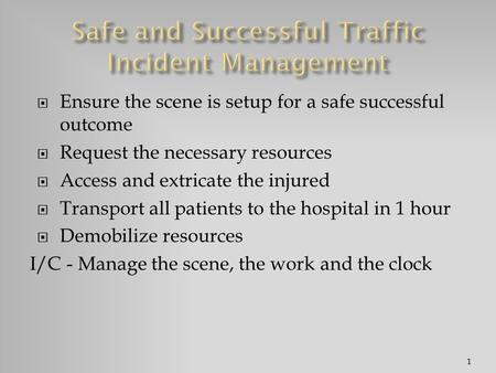  Ensure the scene is setup for a safe successful outcome  Request the necessary resources  Access and extricate the injured  Transport all patients.