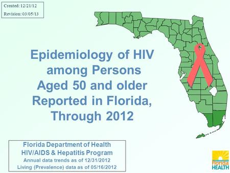 Florida Department of Health HIV/AIDS & Hepatitis Program Annual data trends as of 12/31/2012 Living (Prevalence) data as of 05/16/2012 Epidemiology of.