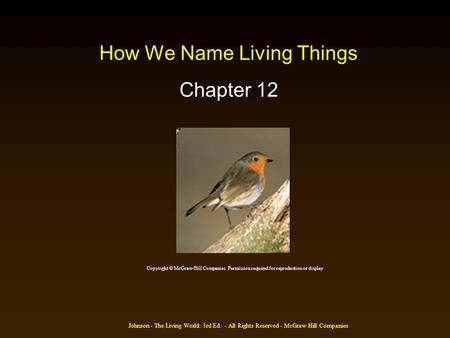 Johnson - The Living World: 3rd Ed. - All Rights Reserved - McGraw Hill Companies How We Name Living Things Chapter 12 Copyright © McGraw-Hill Companies.
