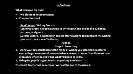 09/16/2015 What you need for class:  Two pieces of notebook paper  Composition book Key Content: Writing Process Learning Target: Choosing a topic to.