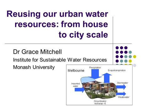 Reusing our urban water resources: from house to city scale Dr Grace Mitchell Institute for Sustainable Water Resources Monash University.