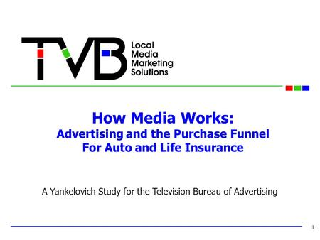 How Media Works: Advertising and the Purchase Funnel For Auto and Life Insurance 1 A Yankelovich Study for the Television Bureau of Advertising.