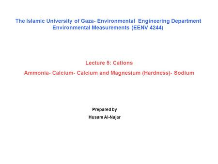 The Islamic University of Gaza- Environmental Engineering Department